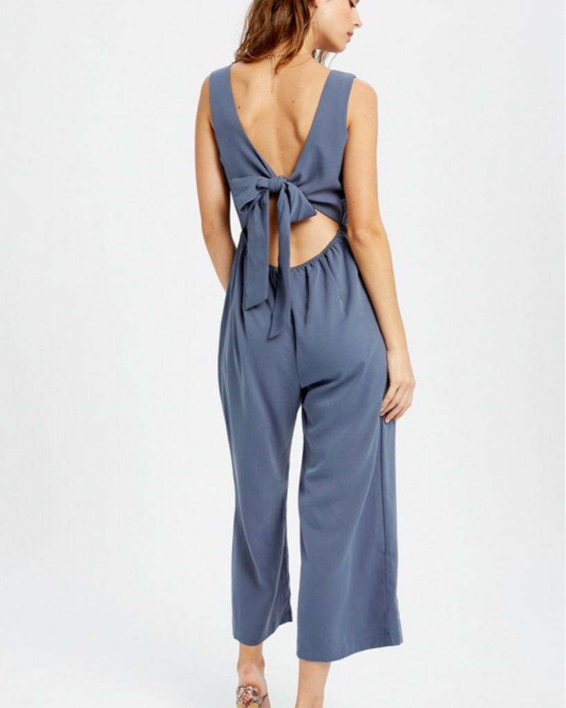 Surplice Open Back Jumpsuit