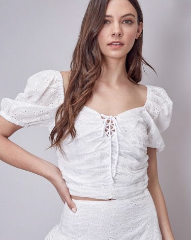 Eyelet Crop Blouse