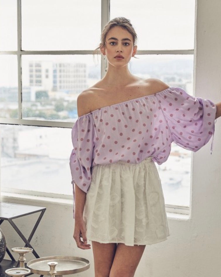 Dotted Off Shoulder Blouse