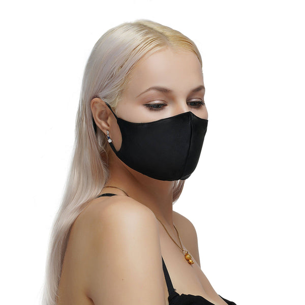 Vere - Premium 100% Mulberry Silk Face Mask (Black)- 10 pack