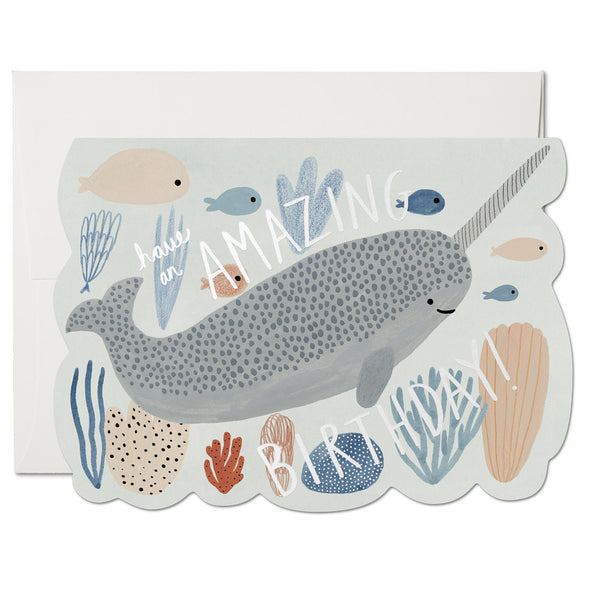 Red Cap Cards - Narwhal Birthday
