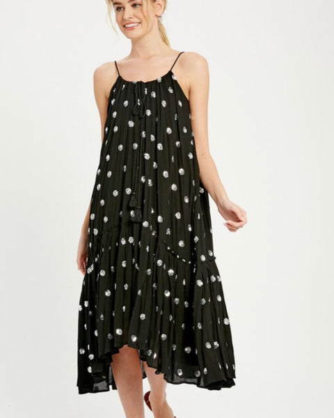 Sequin Dot Midi Dress