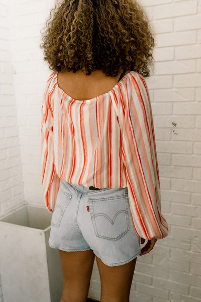 For The Love Stripe Wrap Top
