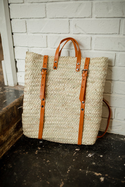Straw Havana  Backpack with Long Genuine Leather Straps-Havana