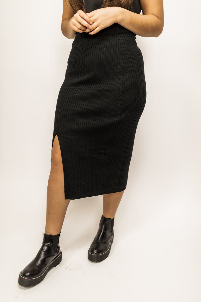 Evanne Ribbed Knit Skirt