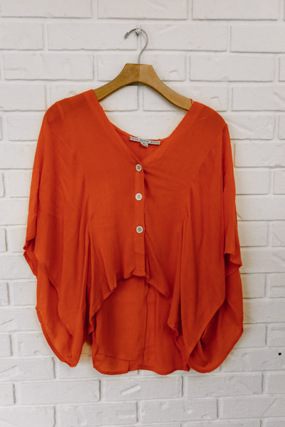 V Neck Gauze Blouse