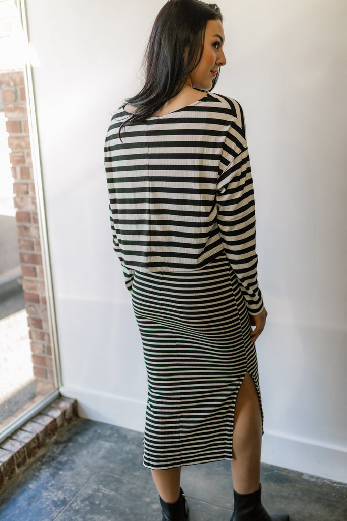 Mixed Striped Dress + Top Set