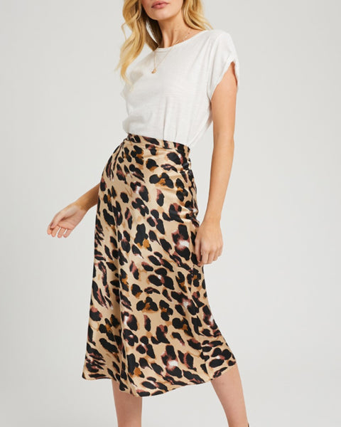 Painted Leopard Print Midi Skirt