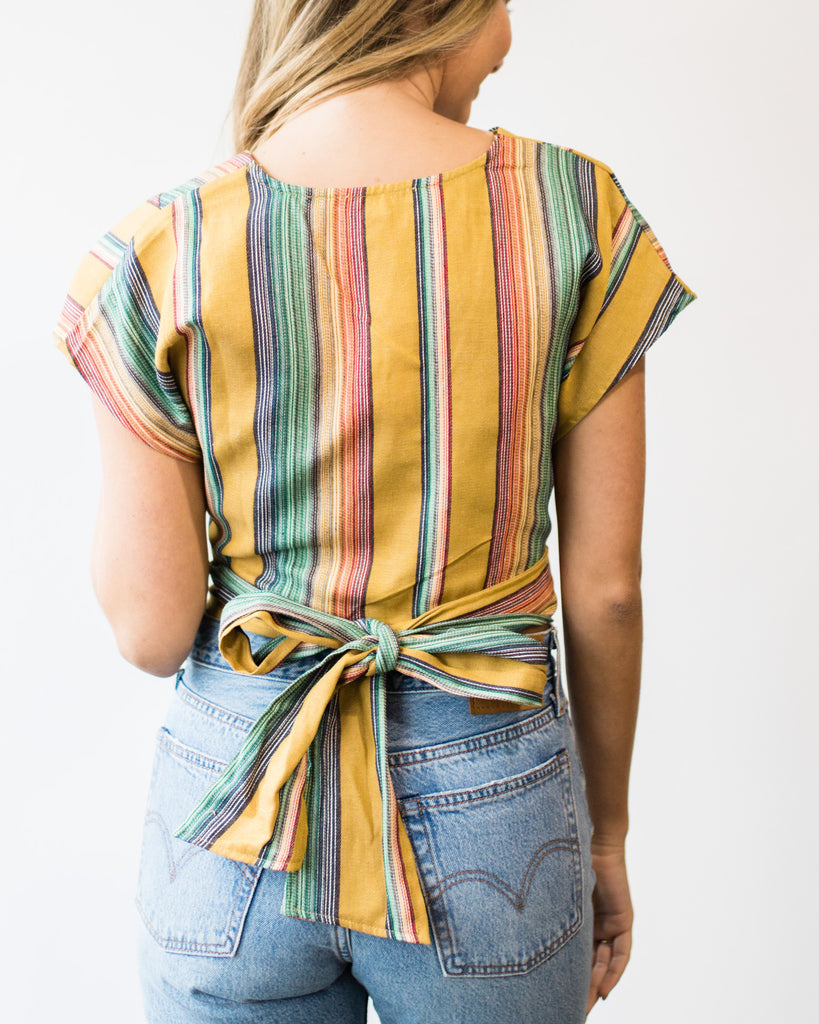 Candy Stripe Wrap Blouse