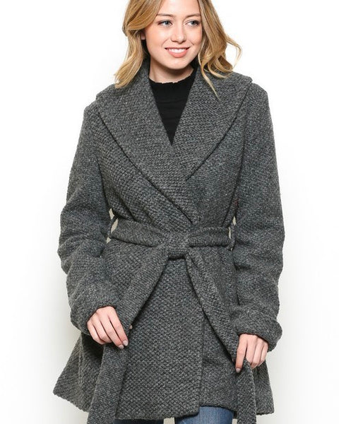Self Tie Knit Coat
