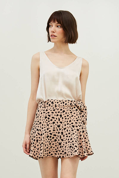Animal Print Spotted Mini Skirt - Latte