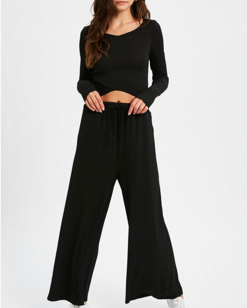 Ribbed Top + Wide Leg Pant Set