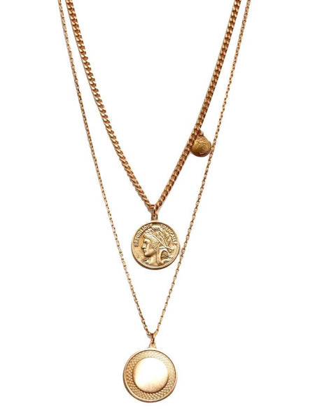 Athena Coin Layer Necklace 14K Plated