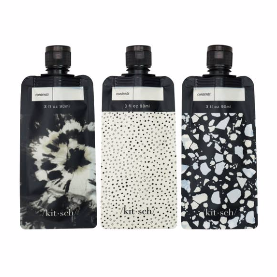 KITSCH - Refillable Travel Pouches 3pc Set - Black & Ivory