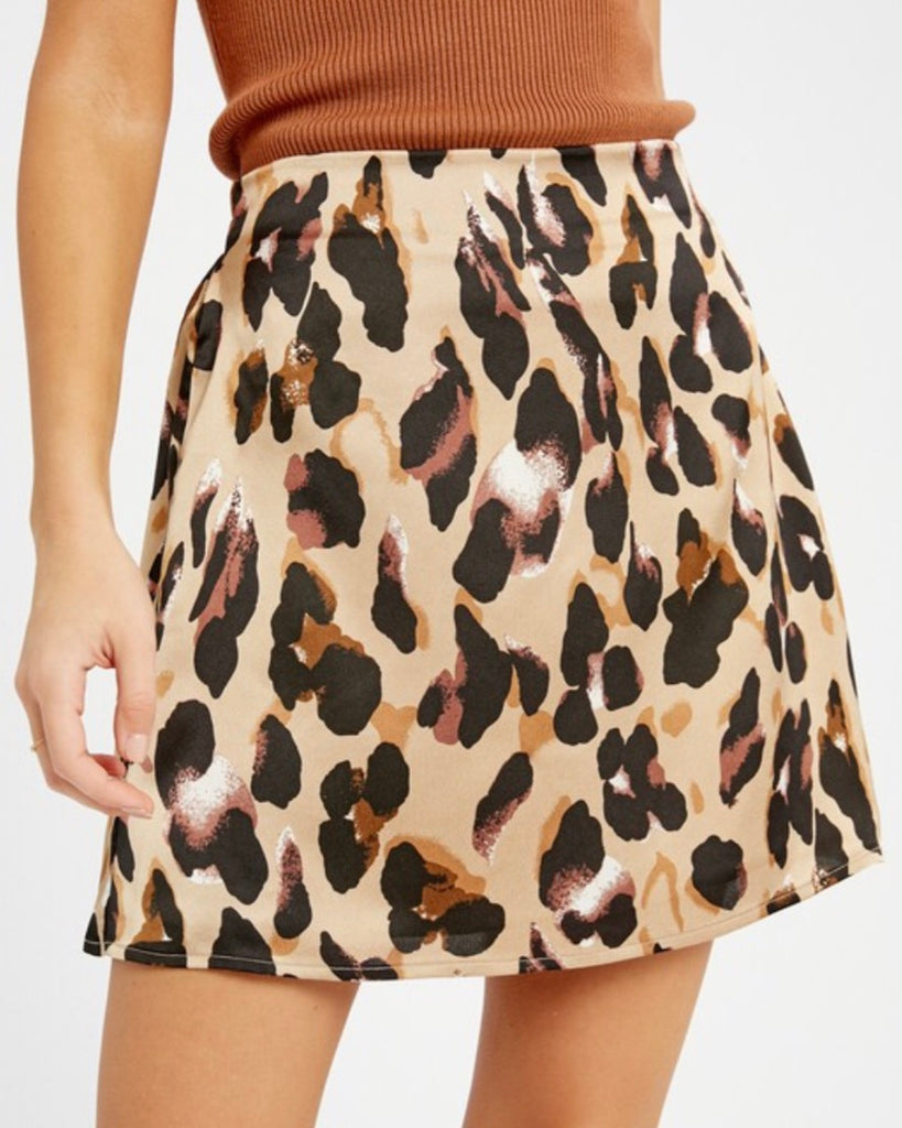 Painted Leopard Print Skirt