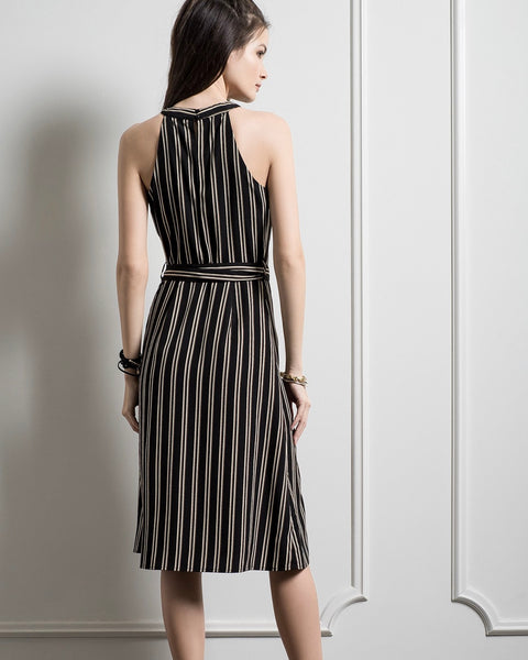 High Neck Stripe Midi Dress