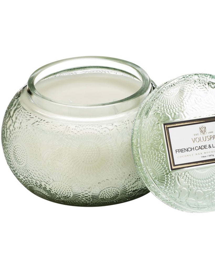 CURBSIDE / STORE PICKUP ONLY! Embossed Glass Chawan Bowl Candle