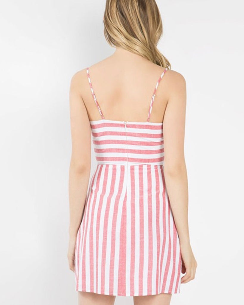 Bow Front Stripe Dress