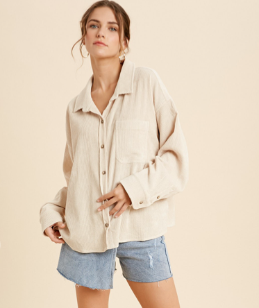 Slouchy Cord Button Down