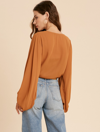 Bell Sleeve Bodysuit Blouse