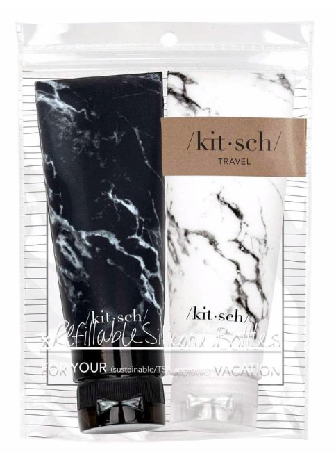 KITSCH - Refillable Silicone Bottle 2PC Set - Black & White Marble