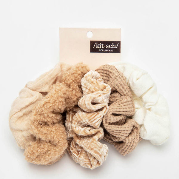 KITSCH - Assorted Textured Scrunchies 5pc - Sand