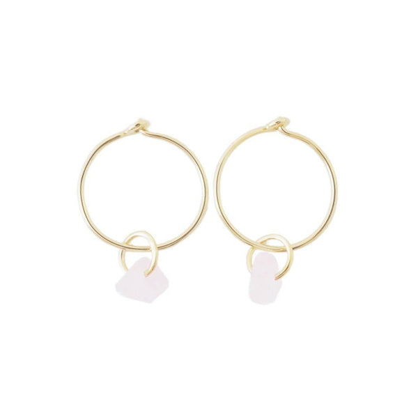 Honeycat Jewelry - Clear Quartz - Wishing Crystal Hoop Earrings