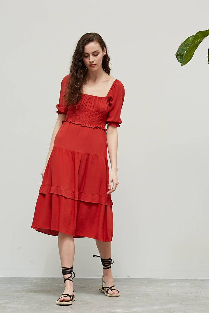 Flame Smocked Midi Dress