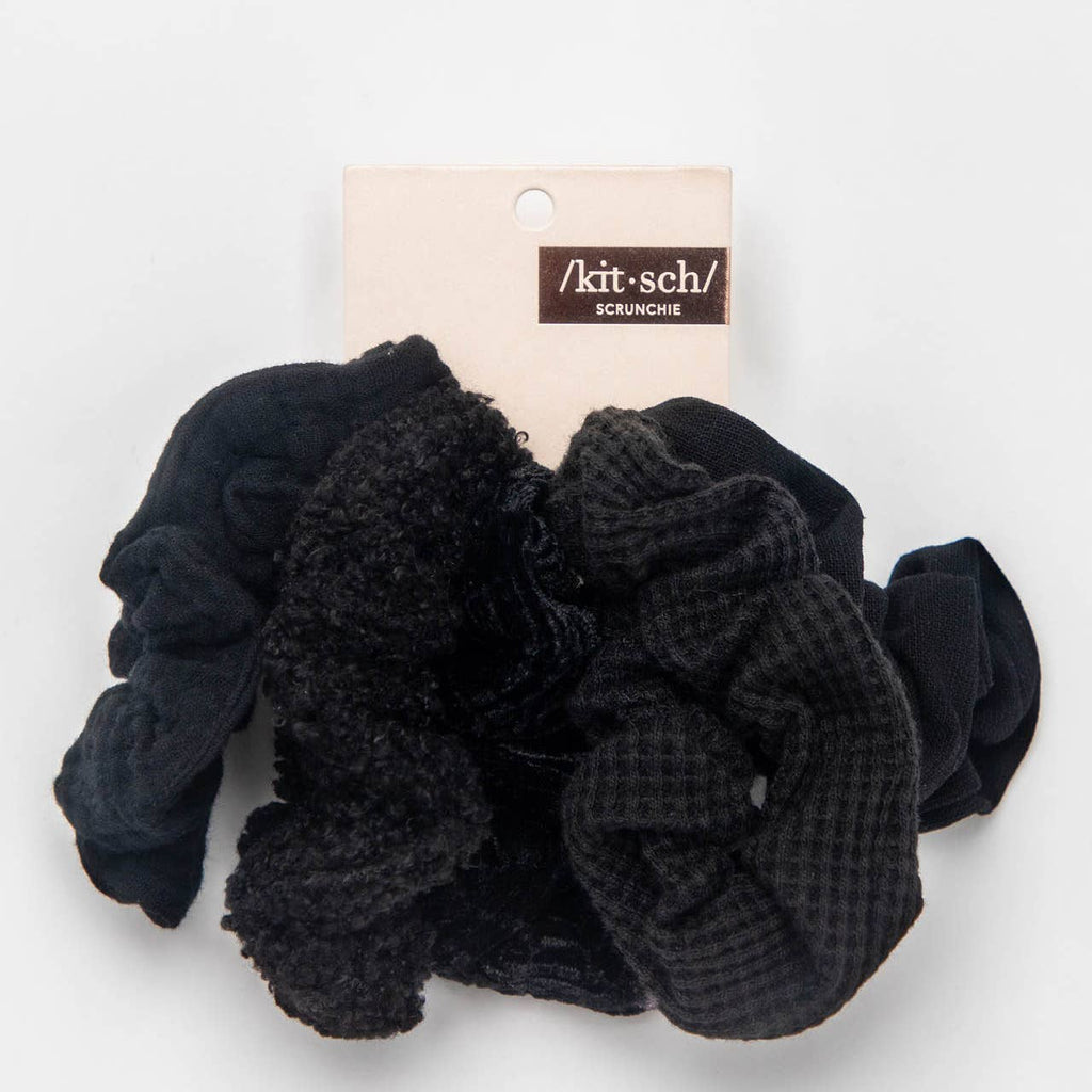 KITSCH - Assorted Textured Scrunchies 5pc - Black