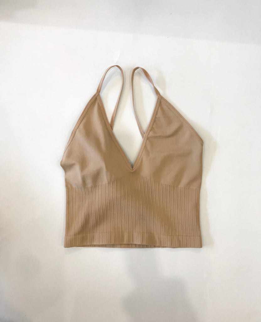 Ribbed Low Back Bra Top