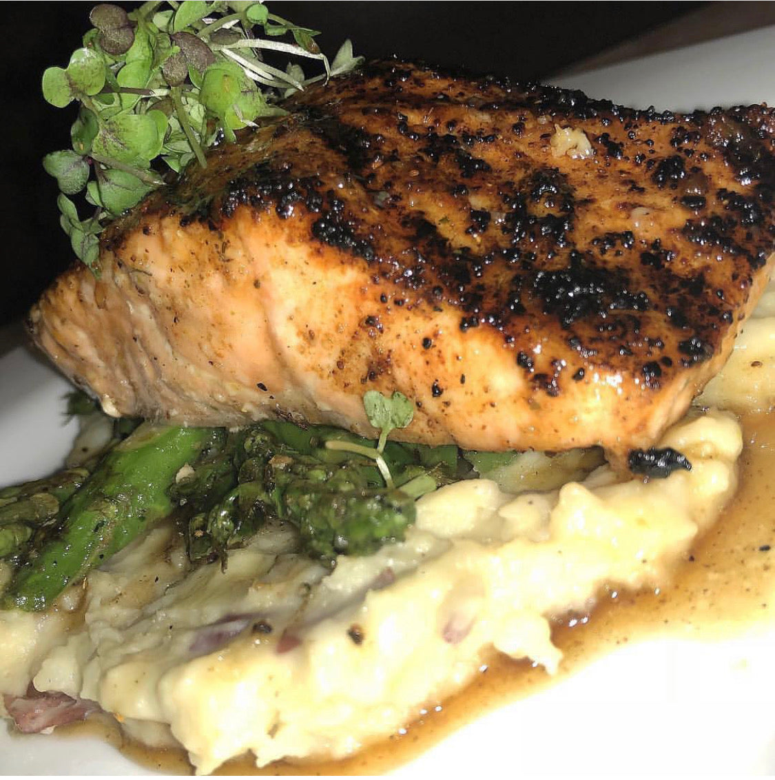 Honey Bourbon Salmon w/ Mashed Potatoes & Asparagus Tips