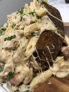 Chicken Penne Alfredo Loaded Potato