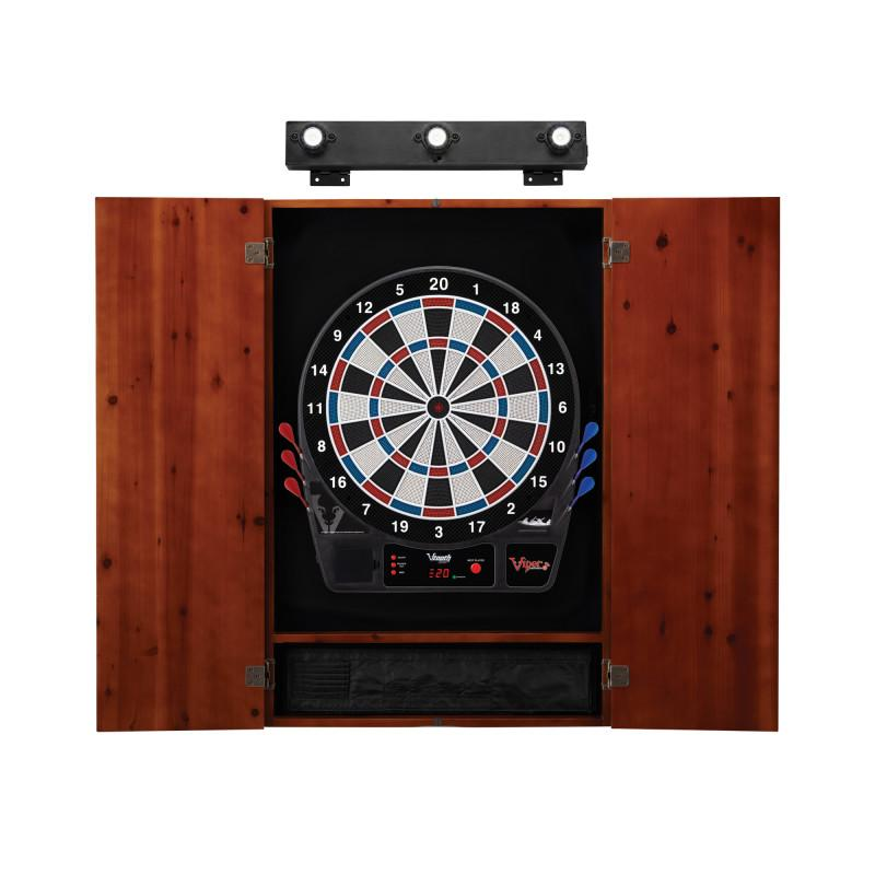 Viper Vtooth 1000 Electronic Dartboard, Metropolitan Cinnamon Cabinet & Shadow Buster Dartboard Light Bundle