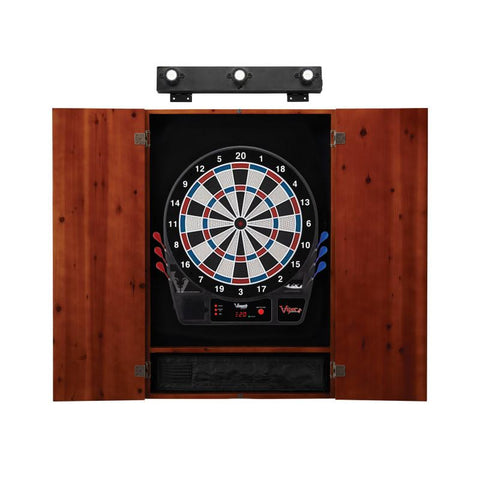 Image of Viper Vtooth 1000 Electronic Dartboard, Metropolitan Cinnamon Cabinet & Shadow Buster Dartboard Light Bundle Darts Viper