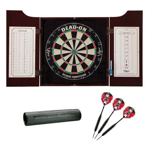 Image of Viper Hudson Dartboard Cabinet, Viper Dead-On Bristle Dartboard, Viper Black Mariah Steel Tip Darts 22 Grams, and Viper Vinyl Dart Mat