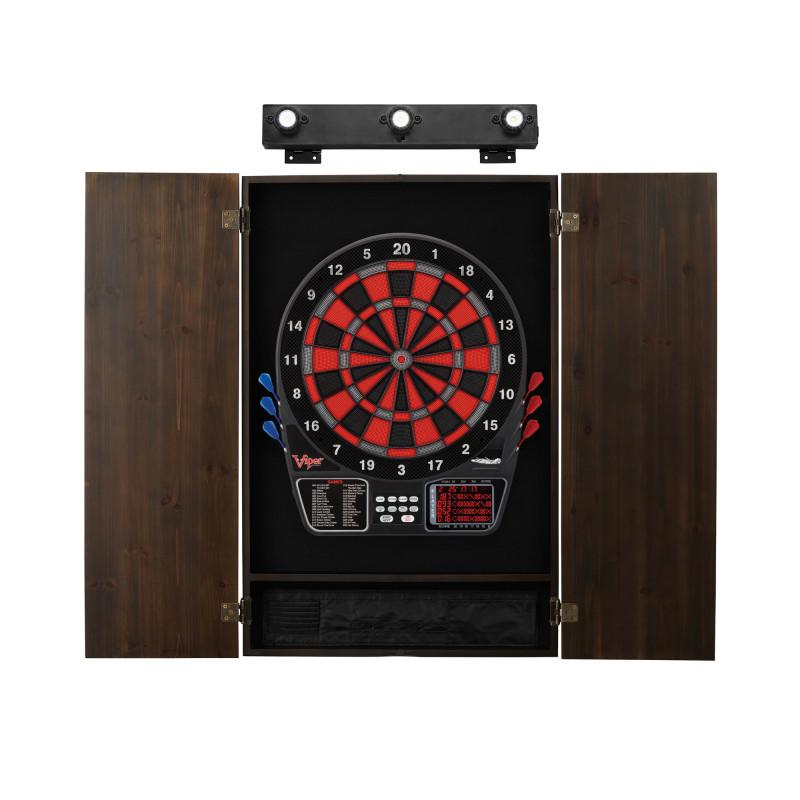 Viper 797 Electronic Dartboard, Metropolitan Espresso Cabinet & Shadow Buster Dartboard Light Bundle Darts Viper