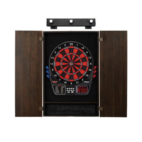 Image of Viper 797 Electronic Dartboard, Metropolitan Espresso Cabinet & Shadow Buster Dartboard Light Bundle Darts Viper