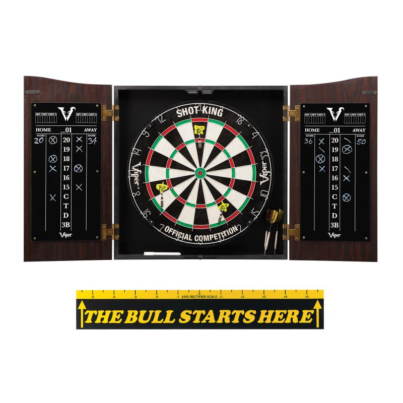 "Viper Vault Cabinet with Shot King Sisal Dartboard & ""The Bull Starts Here"" Throw Line Marker Darts Viper"