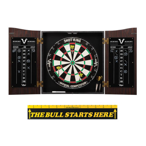 "Viper Vault Cabinet with Shot King Sisal Dartboard & ""The Bull Starts Here"" Throw Line Marker"