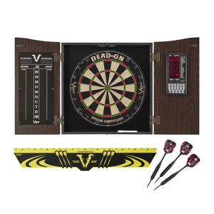 Viper Vault Deluxe Dartboard Cabinet with Integrated Pro Score Bundle with Included Dead-On Dartboard, Edge Throwline and Black Mariah Dart Set