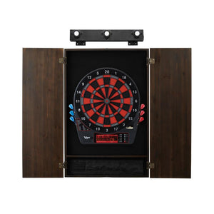 Viper Specter Electronic Dartboard, Metropolitan Espresso Cabinet & Shadow Buster Dartboard Light Bundle