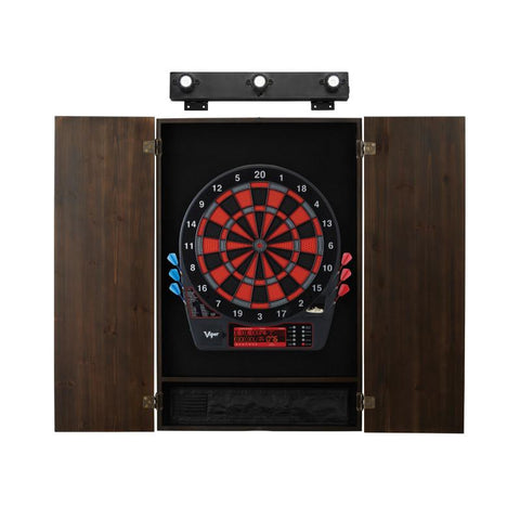 Image of Viper Specter Electronic Dartboard, Metropolitan Espresso Cabinet & Shadow Buster Dartboard Light Bundle