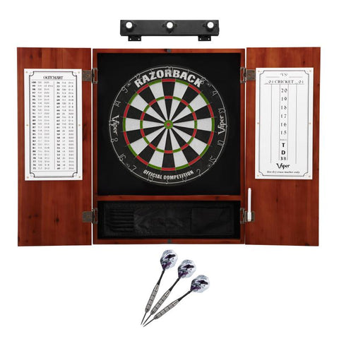 Image of Viper Razorback Sisal Dartboard, Metropolitan Cinnamon Cabinet, Underground The Raven Steel Tip Darts & Shadow Buster Dartboard Lights Darts Viper
