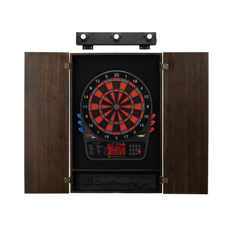 Viper 800 Electronic Dartboard, Metropolitan Espresso Cabinet & Shadow Buster Dartboard Light Bundle