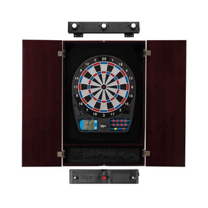 Viper 787 Electronic Dartboard, Metropolitan Mahogany Cabinet, Laser Throw Line Marker & Shadow Buster Dartboard Lights