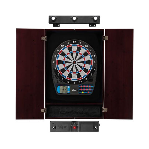 Image of Viper 787 Electronic Dartboard, Metropolitan Mahogany Cabinet, Laser Throw Line Marker & Shadow Buster Dartboard Lights Darts Viper