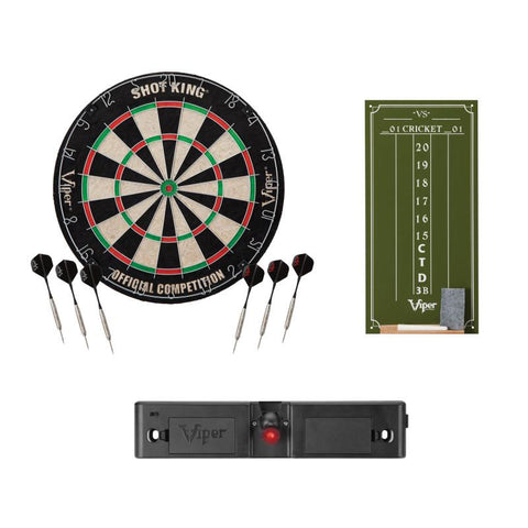 Viper Shot King Bristle Dartboard, Viper Small Cricket Chalk Scoreboard, and Viper Dart Laser Line
