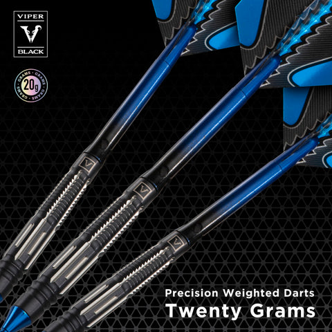 Viper Black Flux 90% Tungsten Steel or Soft Tip Conversion Darts Blue 20 Grams