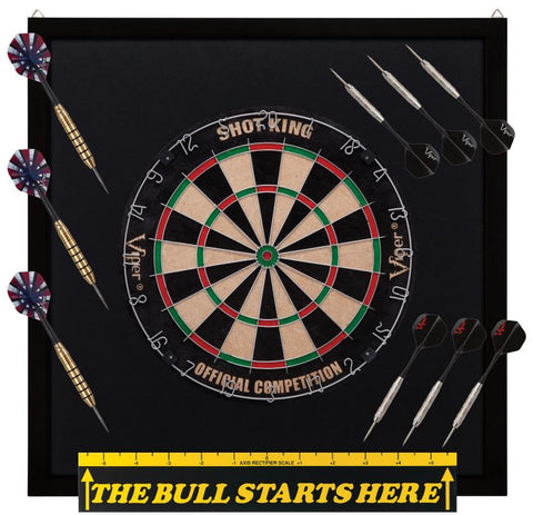 "Image of Viper Shot King Sisal Dartboard, Dartboard Backboard, ""The Bull Starts Here"" Throw Line Marker & Elite Brass Steel Tip Darts"