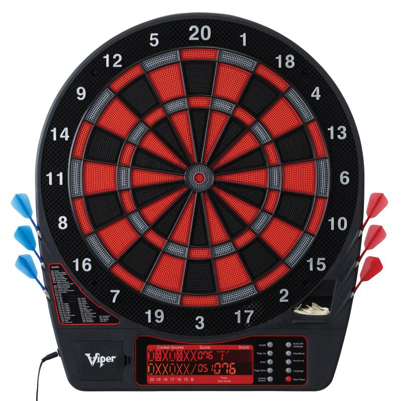 Viper Specter Electronic Dartboard, Metropolitan Cinnamon Cabinet, Laser Throw Line & Shadow Buster Dartboard Light Bundle Darts Viper